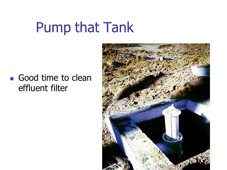 Pump that Tank Good time to clean effluent filter