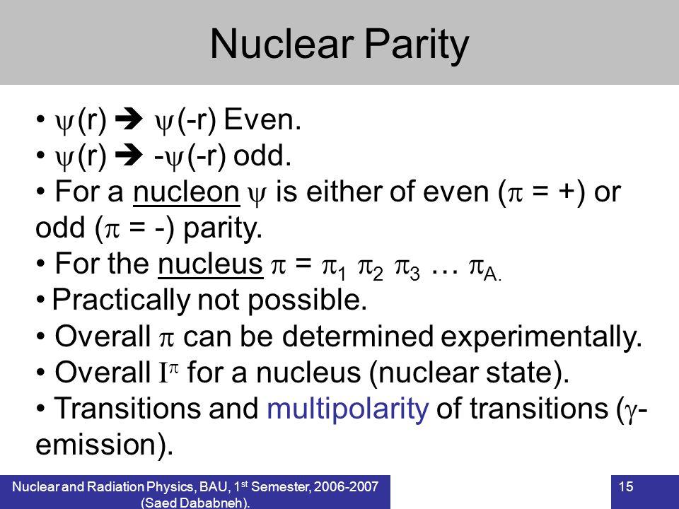Nuclear Parity (r)  (-r) Even. (r)  -(-r) odd.