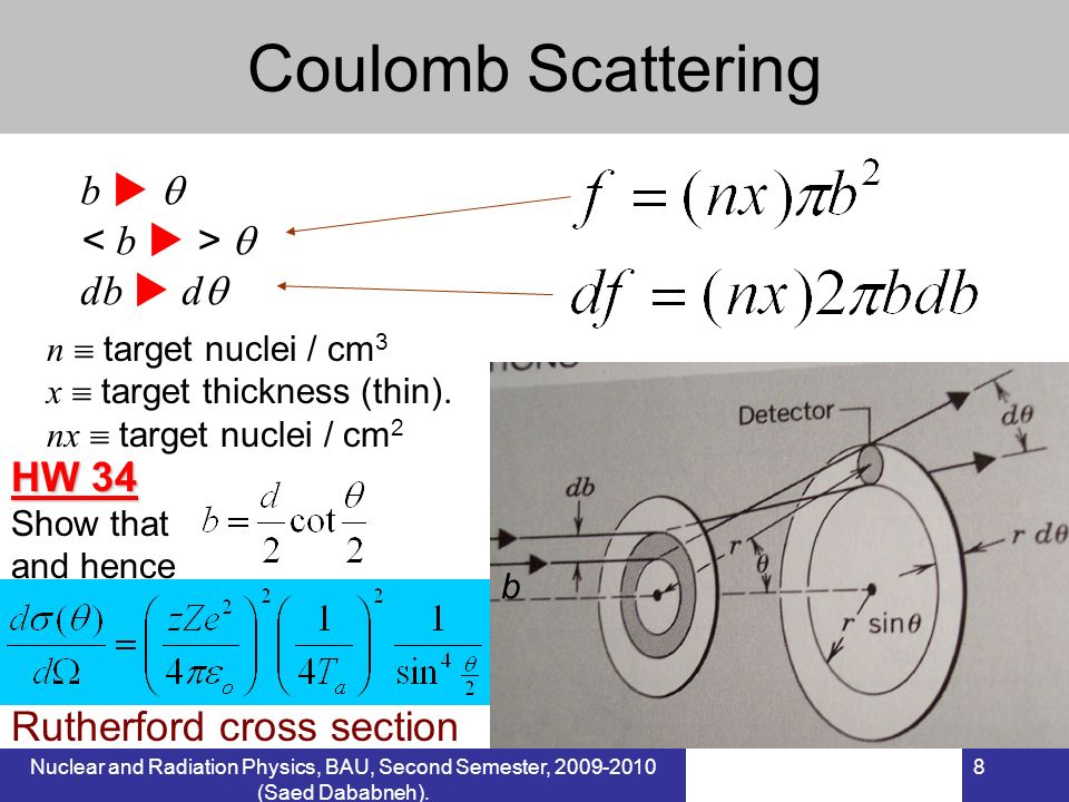 Coulomb Scattering b   < b  >  db  d HW 34
