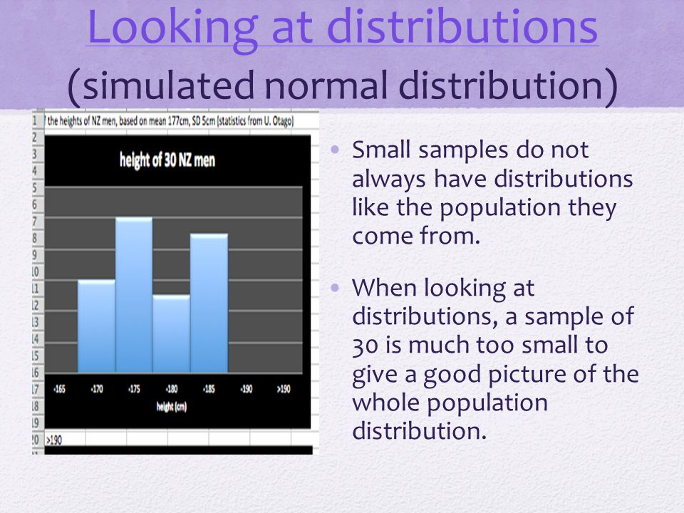 Looking at distributions (simulated normal distribution)