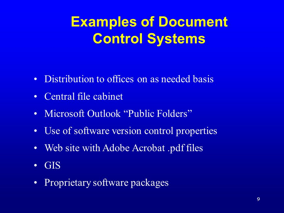 Examples of Document Control Systems