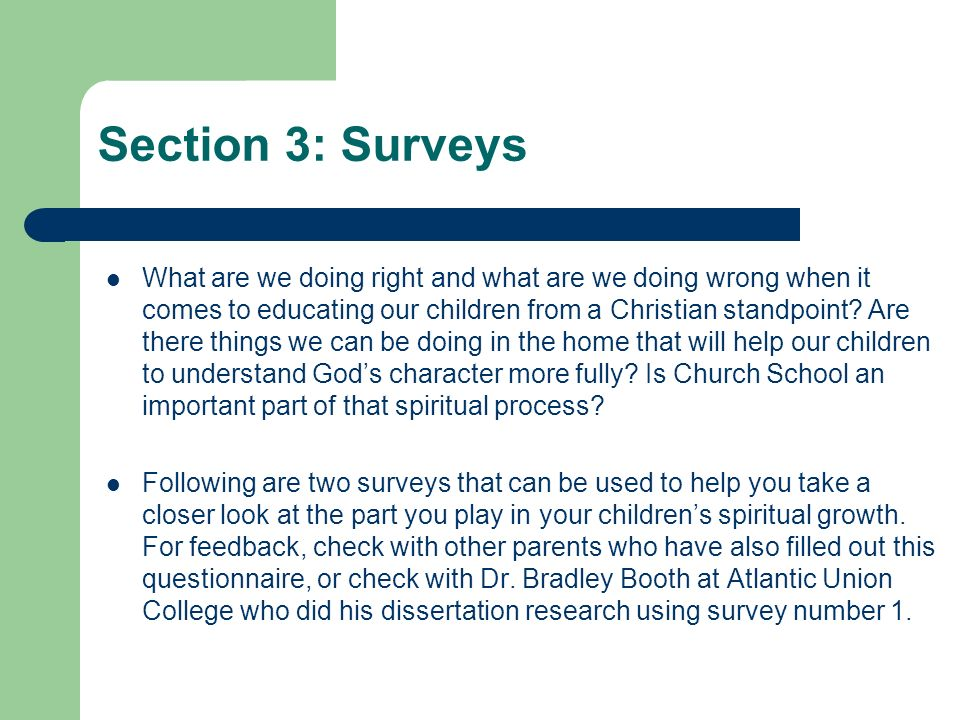 Section 3: Surveys