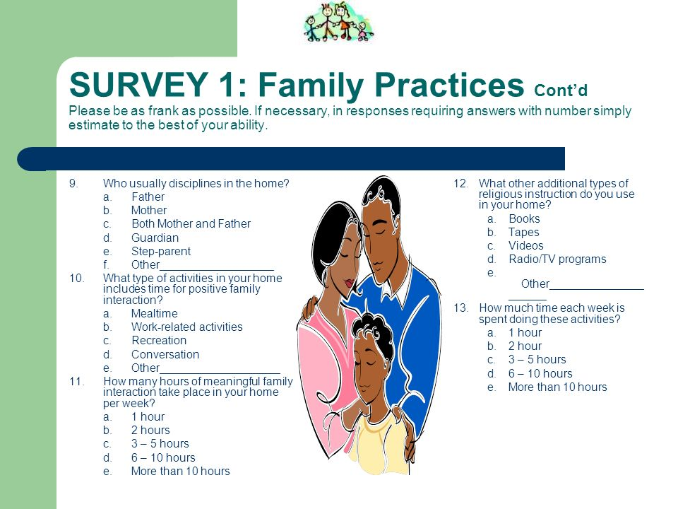 SURVEY 1: Family Practices Cont'd Please be as frank as possible