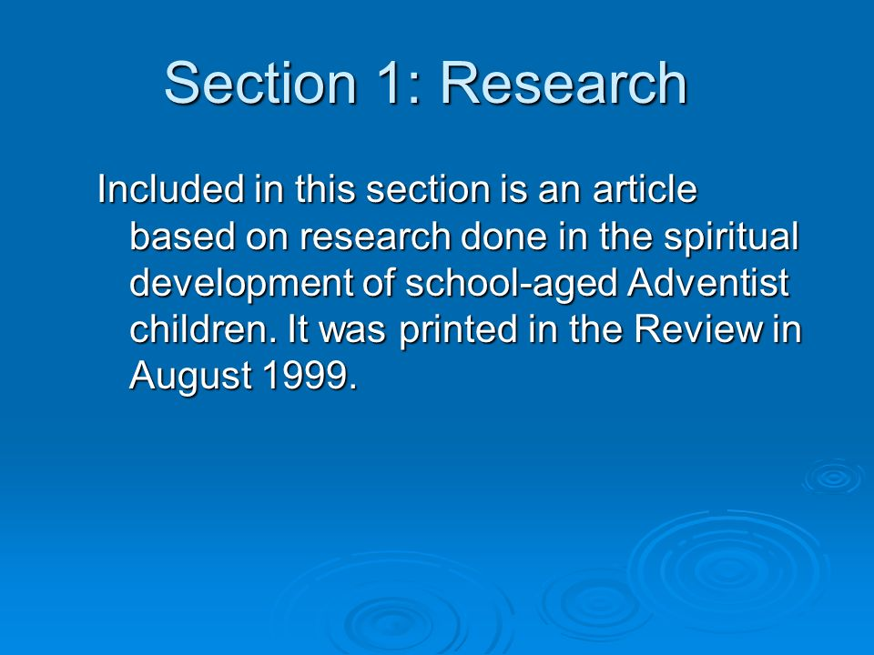 Section 1: Research