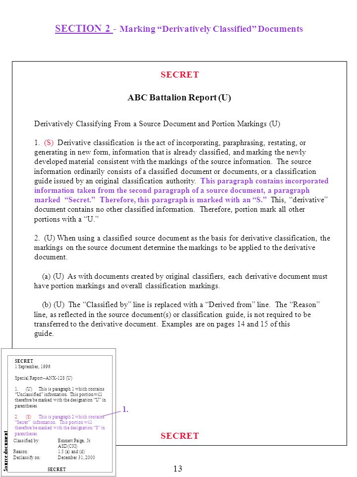 SECTION 2 - Marking Derivatively Classified Documents