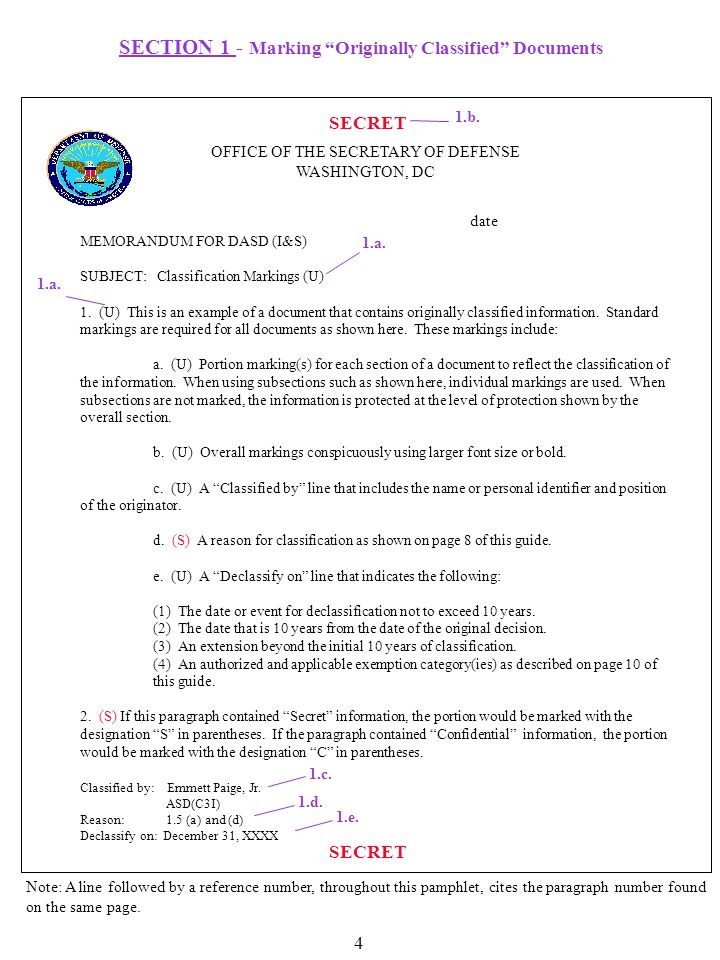 SECTION 1 - Marking Originally Classified Documents