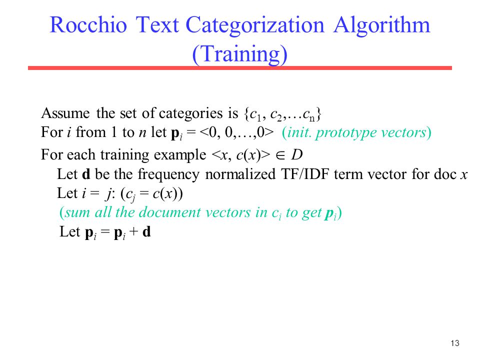 Rocchio Text Categorization Algorithm (Training)
