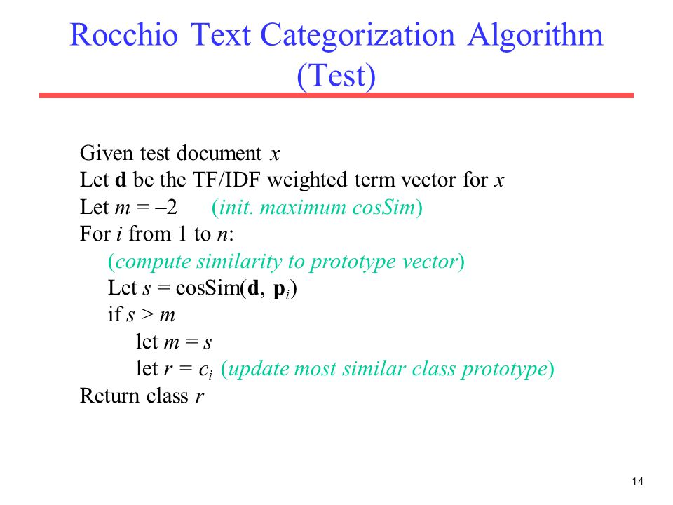 Rocchio Text Categorization Algorithm (Test)