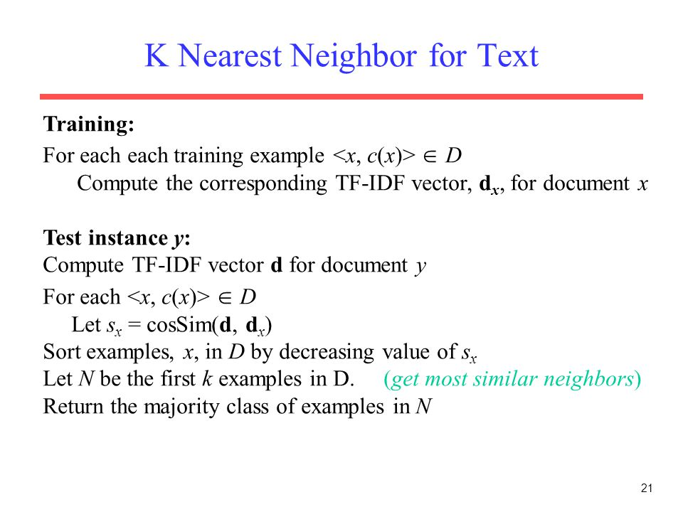 K Nearest Neighbor for Text