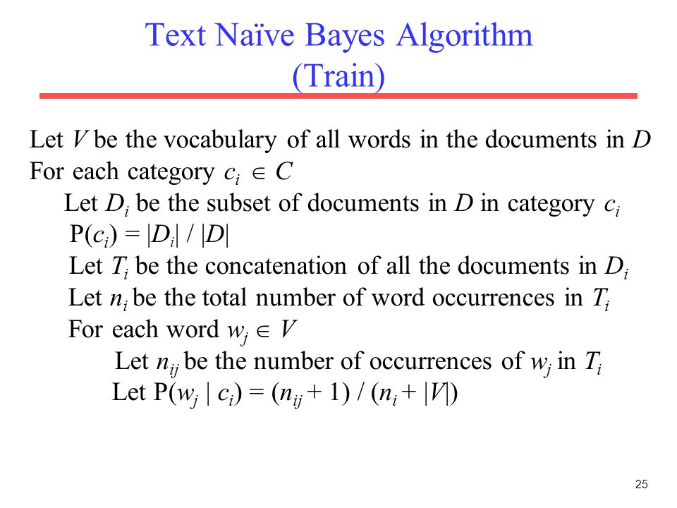 Text Naïve Bayes Algorithm (Train)