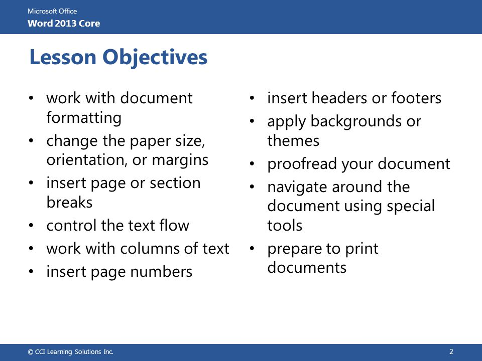 Lesson Objectives work with document formatting