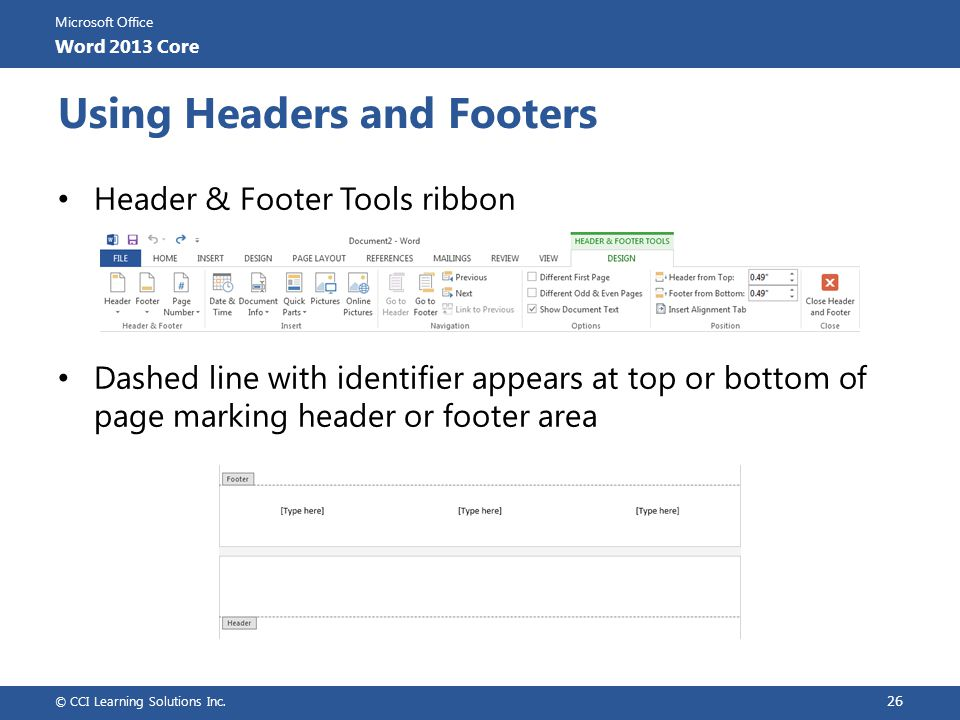 Using Headers and Footers