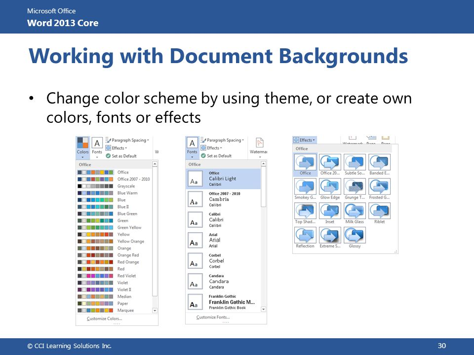 Working with Document Backgrounds