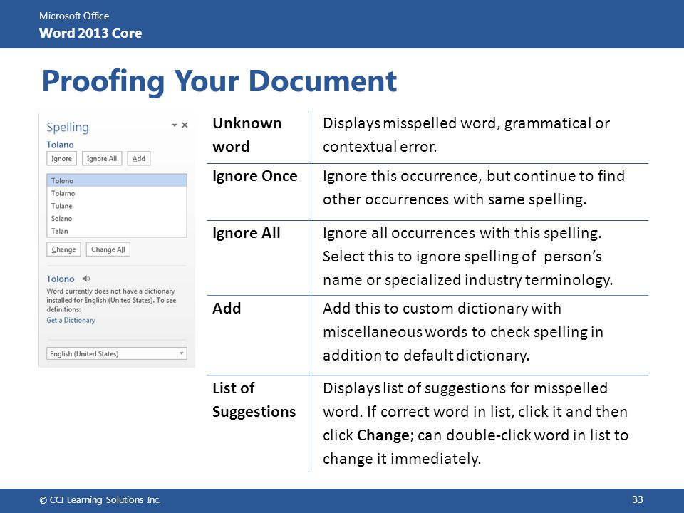 Proofing Your Document