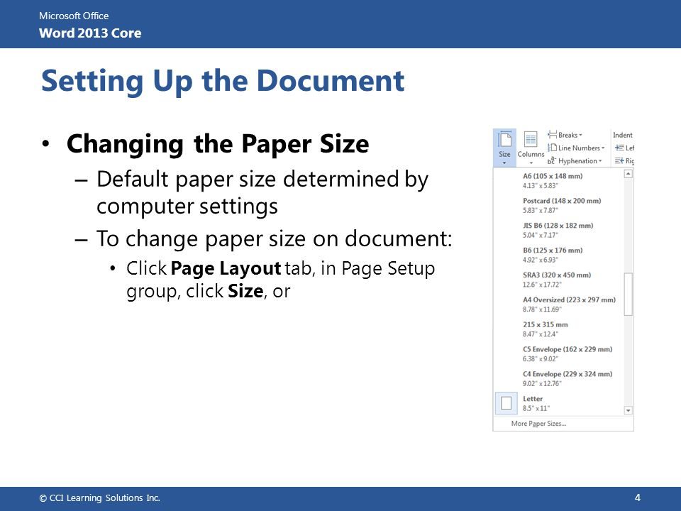 Setting Up the Document