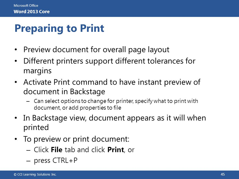 Preparing to Print Preview document for overall page layout