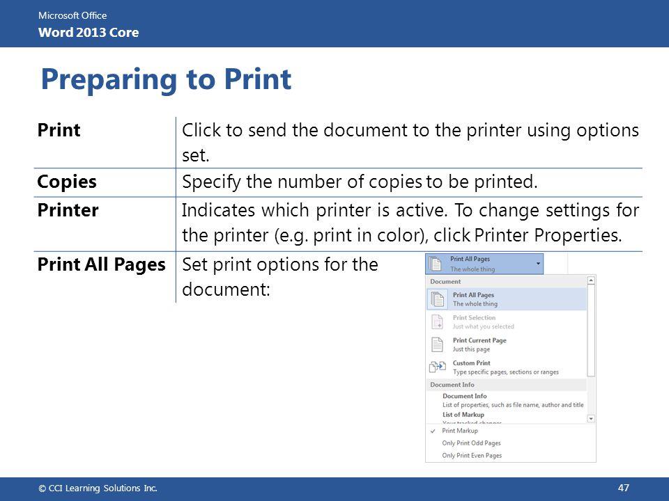 Preparing to Print Print