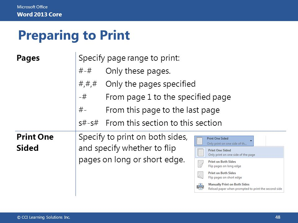 Preparing to Print Pages Specify page range to print: