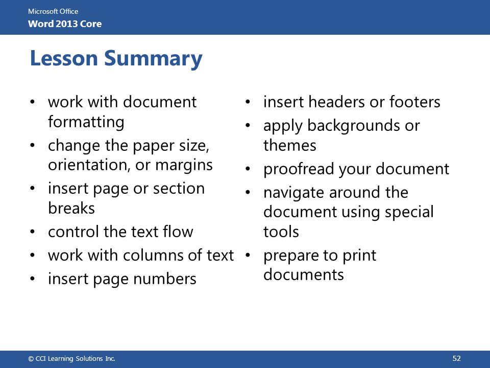 Lesson Summary work with document formatting insert headers or footers