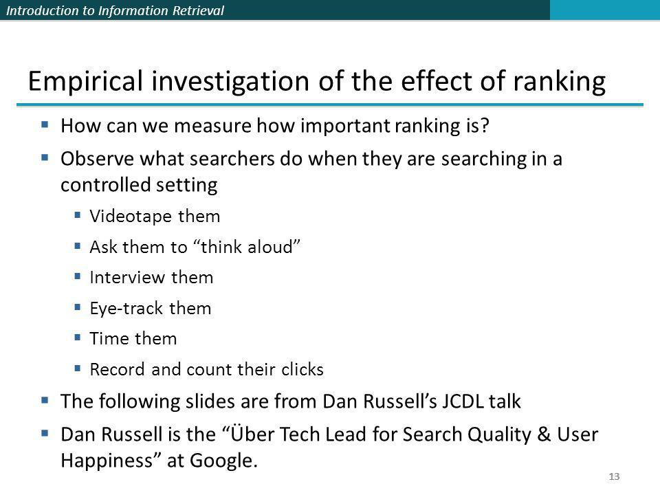Empirical investigation of the effect of ranking