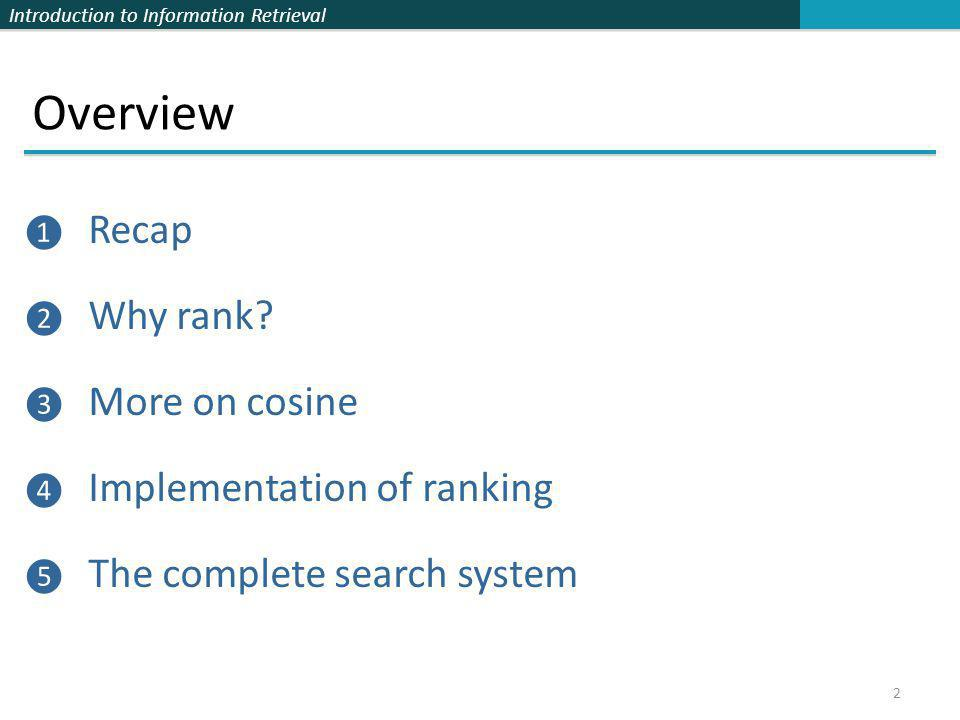 Overview Recap Why rank More on cosine Implementation of ranking