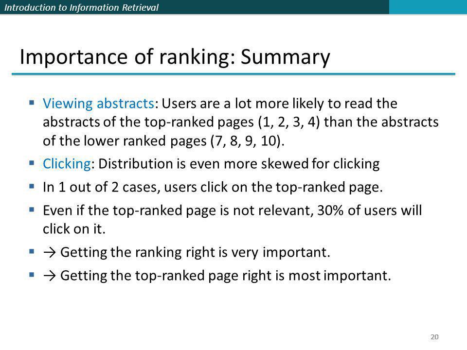 Importance of ranking: Summary