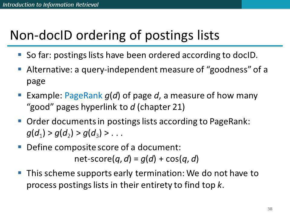 Non-docID ordering of postings lists