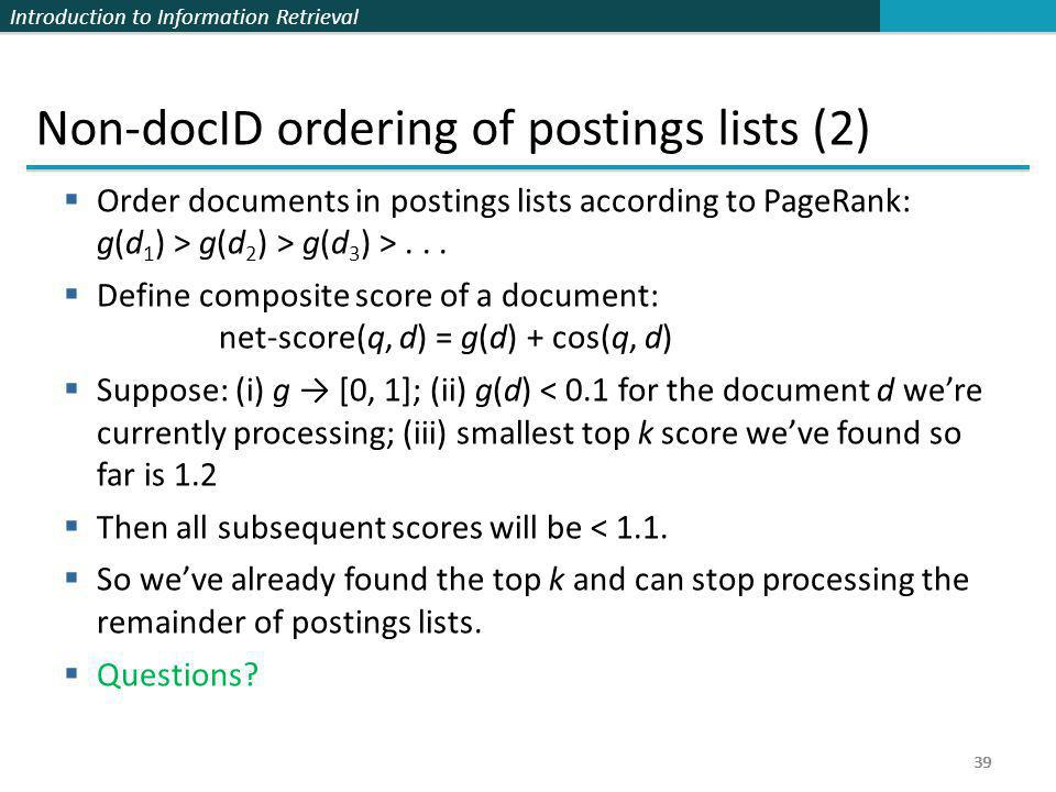 Non-docID ordering of postings lists (2)