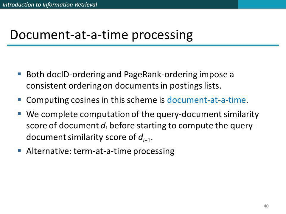 Document-at-a-time processing