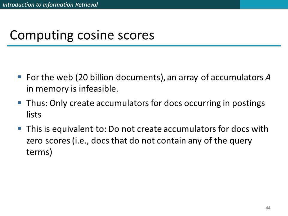 Computing cosine scores