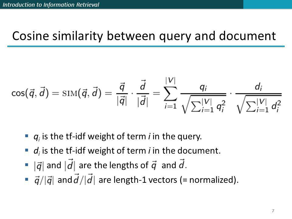 Cosine similarity between query and document