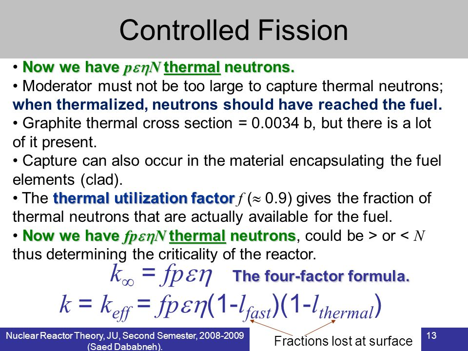 Controlled Fission k = fp The four-factor formula.