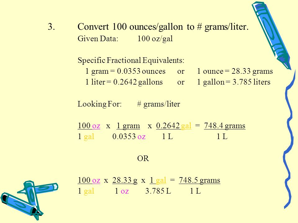 3. Convert 100 ounces/gallon to # grams/liter.
