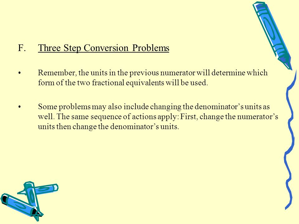 Three Step Conversion Problems