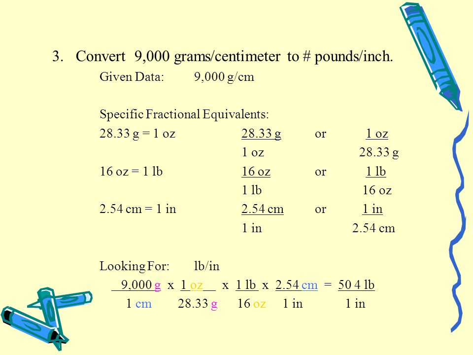 3. Convert 9,000 grams/centimeter to # pounds/inch.