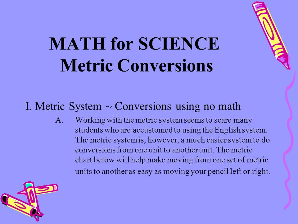 MATH for SCIENCE Metric Conversions