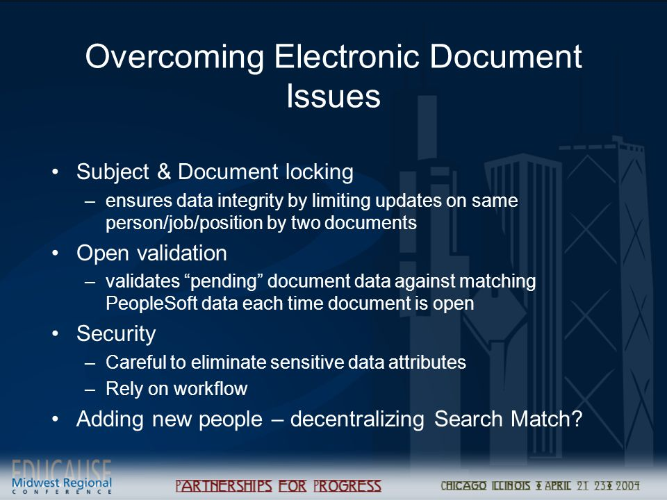 Overcoming Electronic Document Issues