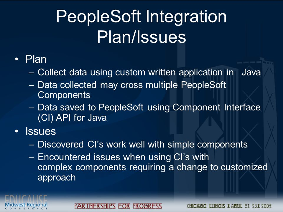 PeopleSoft Integration Plan/Issues