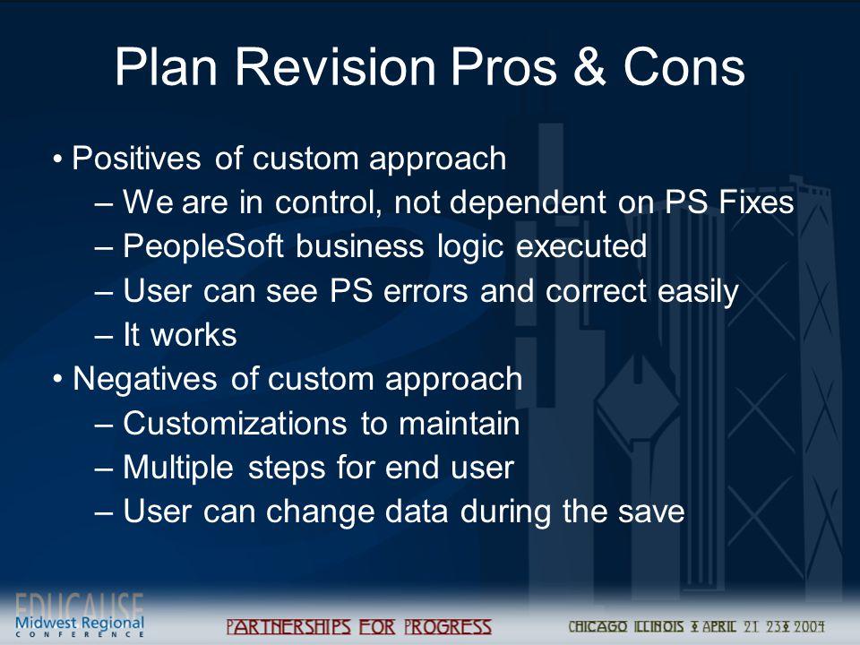 Plan Revision Pros & Cons
