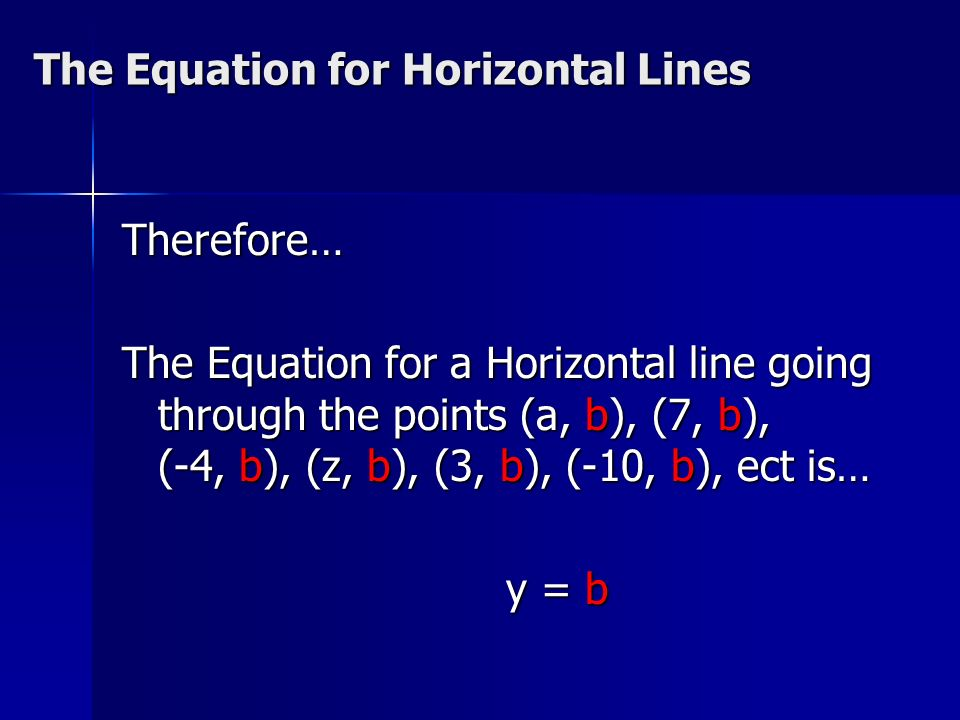 The Equation for Horizontal Lines