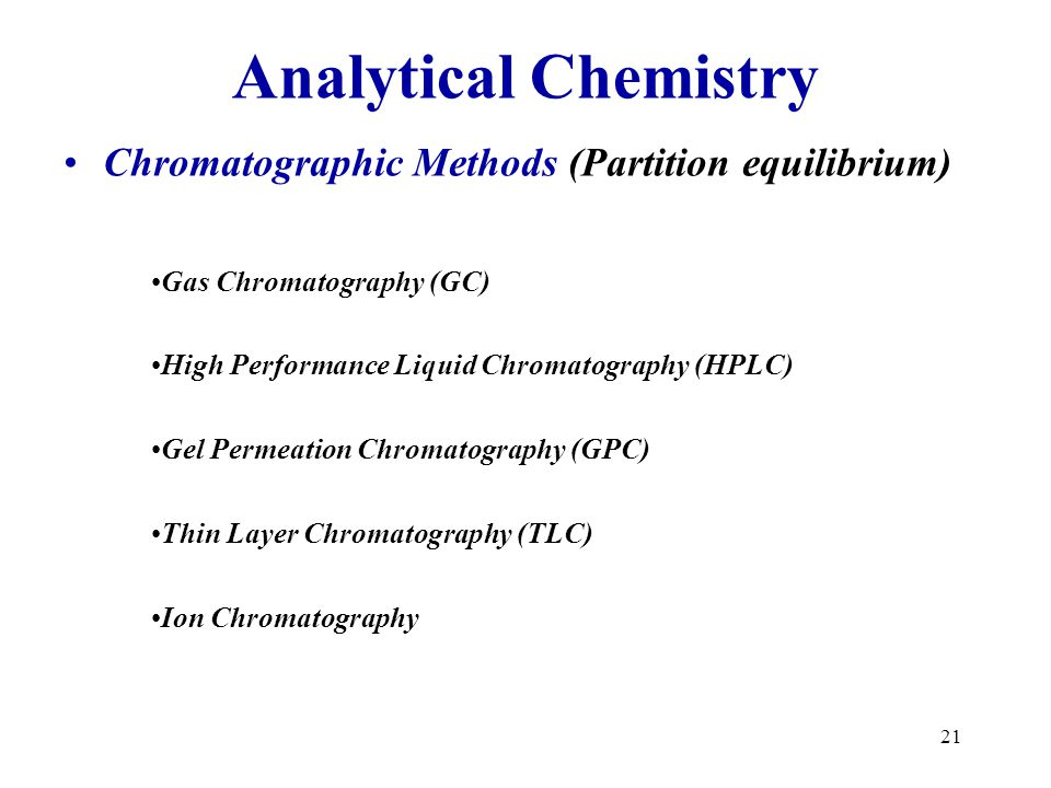 Analytical Chemistry Chromatographic Methods (Partition equilibrium)