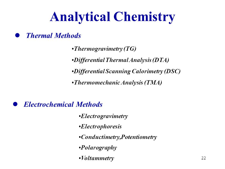 Analytical Chemistry Thermal Methods Electrochemical Methods