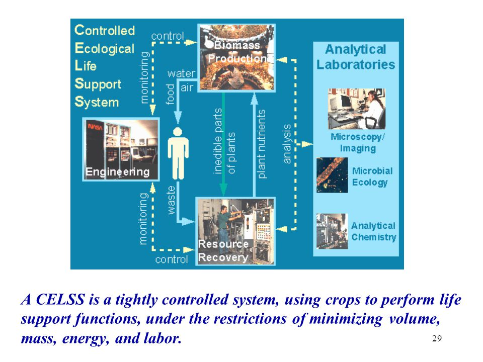 A CELSS is a tightly controlled system, using crops to perform life support functions, under the restrictions of minimizing volume, mass, energy, and labor.