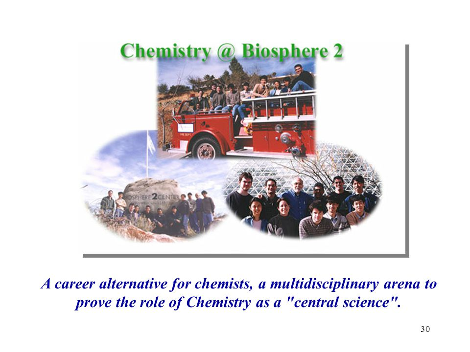 A career alternative for chemists, a multidisciplinary arena to prove the role of Chemistry as a central science .