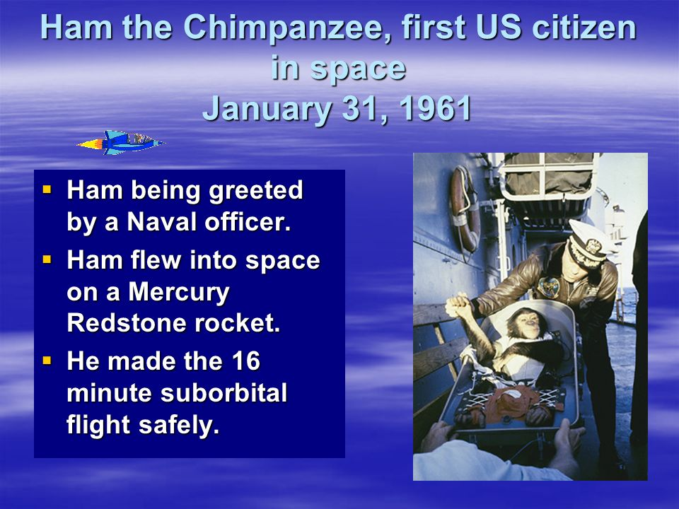 Ham the Chimpanzee, first US citizen in space January 31, 1961