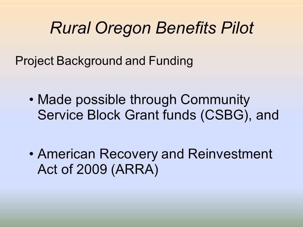 Rural Oregon Benefits Pilot