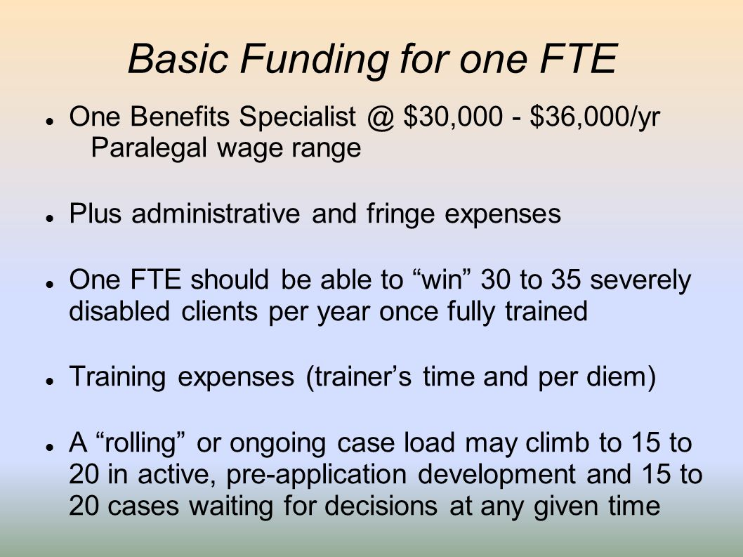Basic Funding for one FTE