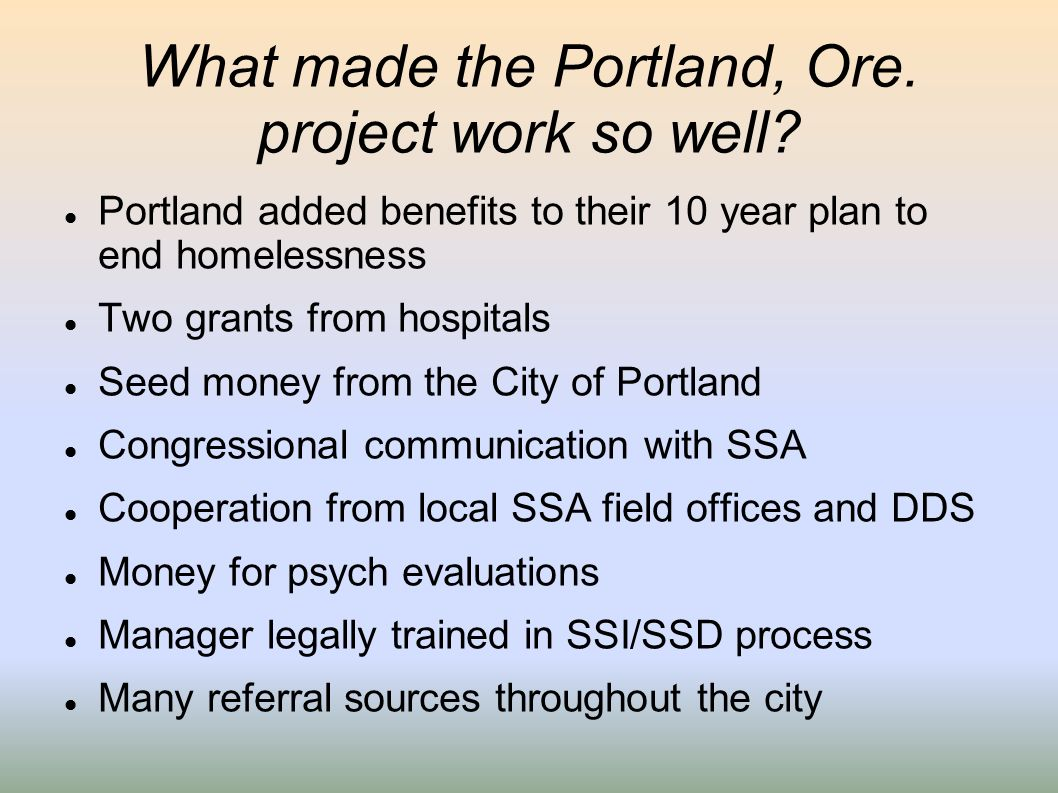 What made the Portland, Ore. project work so well