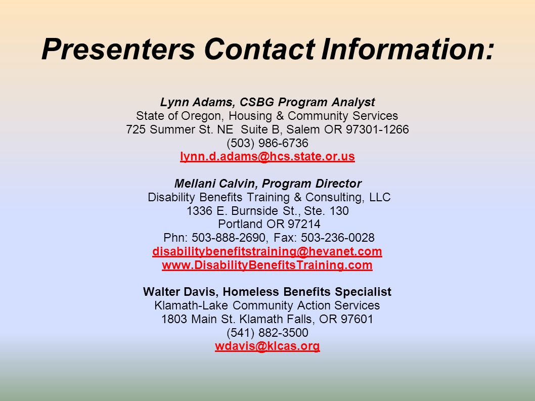 Presenters Contact Information: