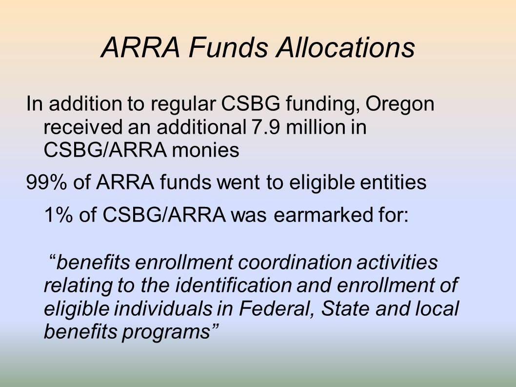 ARRA Funds Allocations